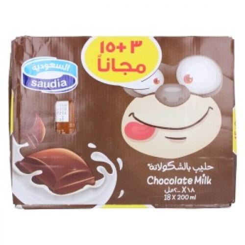 كرتون حليب السعودية بالشوكولاتة 18 200 مل